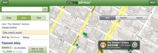 aplicación Tripadvisor para ipad