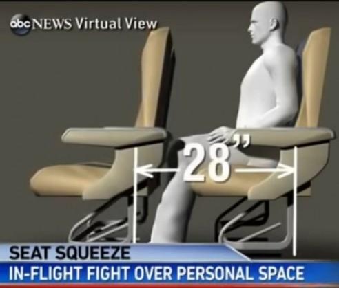 espacio entre asientos de avión