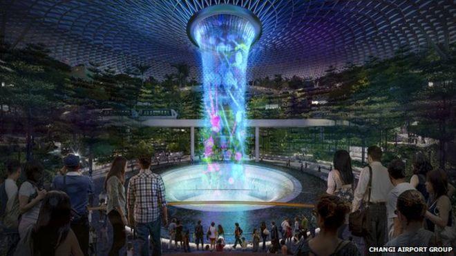Recreación virtual de cómo será el Aeropuerto Changi de Singapur.