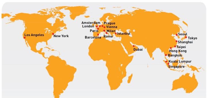 mapamundi gasto turístico ciudades