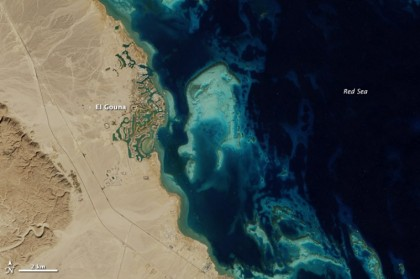 El Gouna, Egipto, fotografiada desde el espacio en 2014. Foto: NASA.