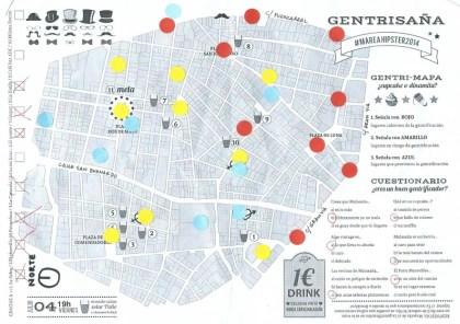 Mapa elaborado por el colectivo Gentrisaña, Madrid.