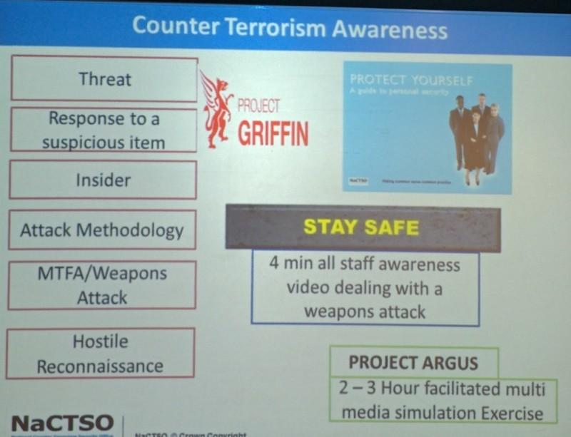 Una de las diapositivas mostradas en la conferencia sobre prevención de ataques terroristas en el sector turístico.