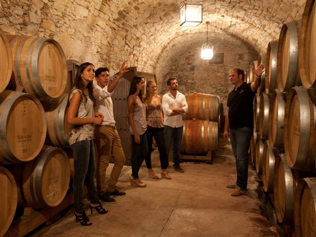 Visitas en la bodega Oller del Mas, en la Denominación de Origen Pla de Bages, Cataluña, España.